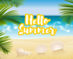 Hello summer. Sandy beach cost - stock illustration