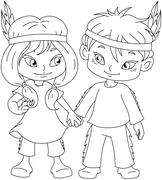 Indian Boy And Girl Holding Hands For Thanksgiving Coloring Page - stock illustration