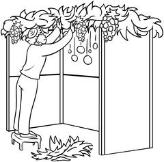 Jewish Guy Builds Sukkah For Sukkot Coloring Page Stock Illustration