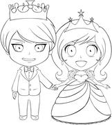 Prince and Princess Coloring Page Stock Illustration