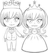Princess and Prince Coloring Page Stock Illustration