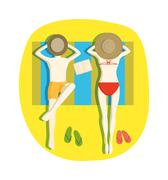 Couple on beach vector illustration Stock Illustration