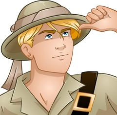 Blond Nature Explorer - stock illustration