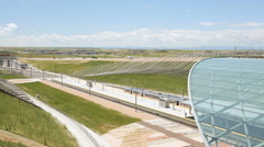 Denver Airport commuter rail station in the Summer. - stock footage