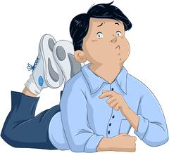 Confused Black Hair Boy Laying On Floor Stock Illustration