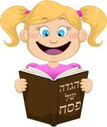 Girl Reading From Haggadah For Passover Stock Illustration