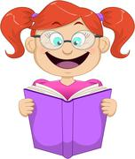 Girl With Glasses Reading From Book - stock illustration