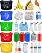 Food Bottles Cans Paper Trash Recycle Pack Stock Illustration