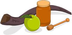Honey Jar Apple And Shofar For Yom Kippur - stock illustration