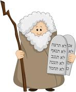 Moses Holding The Ten Commandments - stock illustration
