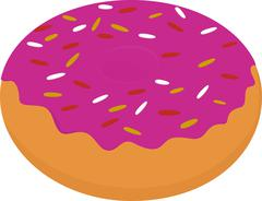 Sweet donut with pink glaze and many decorative sprinkles - stock illustration