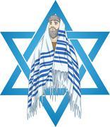 Star Of David Rabbi With Talit - stock illustration