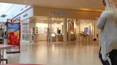 4K Pandora jewelry store, shopping mall Stock Footage