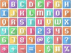 Alphabet Numbers Symbols Flat Square Icons Arcade - stock illustration