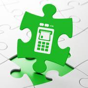 Money concept: ATM Machine on puzzle background - stock illustration