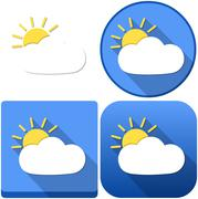 Weather Sun Behind Cloud Icon Pack - stock illustration