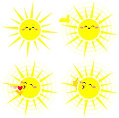 Shining Happy Yellow Sun Pack - stock illustration