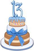 Blue Bar Mitzvah Cake For 13th Birthday - stock illustration