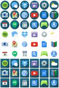 Flat Circle Square Android Icons - stock illustration