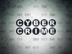 Protection concept: Cyber Crime on Digital Data Paper background - stock illustration
