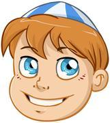 Jewish Boy Head With Blue And White Kippah Stock Illustration