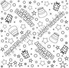 Happy Birthday Pattern Lineart Stock Illustration