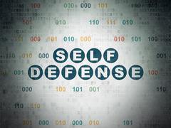 Security concept: Self Defense on Digital Data Paper background - stock illustration
