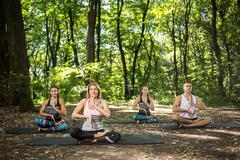 Group of young people doing yoga in green forest Stock Photos