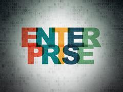 Business concept: Enterprise on Digital Data Paper background Piirros