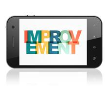 Finance concept: Smartphone with Improvement on  display Stock Illustration