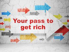 Business concept: arrow with Your Pass to Get Rich on grunge wall background - stock illustration