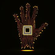 Neon hand. Cpu. Circuit board Stock Illustration