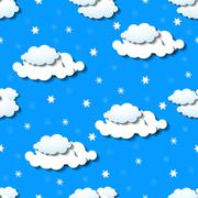Seamless wallpaper with clouds and snowflakes Stock Illustration