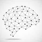 Abstract geometric brain, network connections Stock Illustration