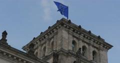 4K, Reichstag European Flag, Berlin Stock Footage
