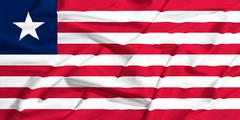 Waving flag of Liberia on a silk drape Stock Illustration