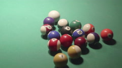 Detail shot of pool billiard balls breaking up - shot01 - CC - stock footage