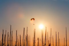 Sunset paragliding over yachts - stock photo