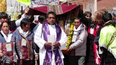 People at procession in Peru in Andes (South America) Stock Footage