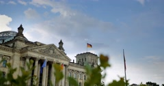 4K, Reichstag Building, Side View Pan, Berlin Stock Footage
