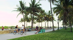 Miami Florida South Beach Tourists 5K Stock Video Footage Stock Footage