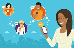 Chatting with friends via messenger app Stock Illustration