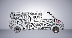 Images bus assembled from new spare parts - stock photo