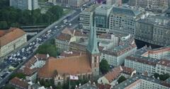 4K, View From Berlin TV Tower, Nikolai Church, Berlin Stock Footage