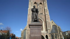 Hugo Grotius Statue, Delft Markt Square - Netherlands, in 4K Stock Footage