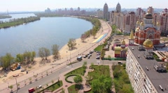 Kiev, Obolon embankment, copter Stock Footage