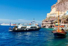 Fira. View of the old harbor Stock Photos