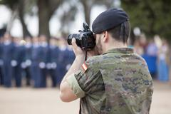 Armed forces day. Journalist soldier - stock photo