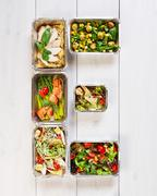 Healthy food take away in boxes, eating right - stock photo