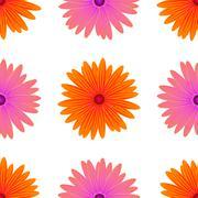Spring Pink Orange Flowers Isolated - stock illustration